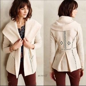 Anthro Angel The North Soutache Gray Jacket Wool